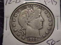 1912-D  F-VF  BARBER HALF DOLLAR   LITY AND MOST OF BER
