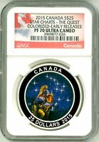 2015 CANADA S$25 STAR CHARTS THE QUEST GLOW IN THE DARK ER NGC PF70 ULTRA CAMEO