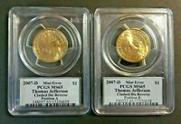 2007 D JEFFERSON $1 EXTRA SPIKE CLASHED DIE ERROR PCGS MINT STATE 65 POS A & B  SET