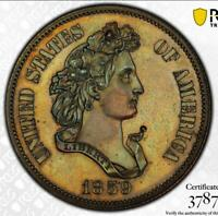 1859 J 238 50C PCGS PR 62   PATTERN HALF DOLLAR STRUCK IN COPPER
