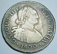 1800 AJ SANTIAGO CHILE SPANISH SILVER 2 REALES ANTIQUE TWO BIT COLONIAL ERA COIN