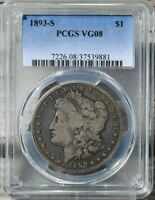 1893-S MORGAN SILVER DOLLAR PCGS VG08 KEY-DATE 1893 S $1 COIN AWESOME EYE APPEAL