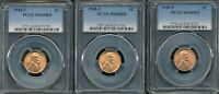 3 LINCOLN CENTS 1944-S, 1948-S AND 1949-S PCGS MINT STATE 66 RD BRIGHT RED