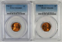 1942-D & 1946-D LINCOLN WHEAT CENT SET - PCGS MINT STATE 66 RD - BIN0511-03