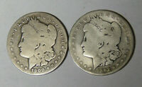 LOT OF 2 MORGAN SILVER DOLLARS 1892-S 1900-S CIRCULATED SAN FRANCISCO MINT 51120