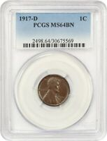 1917-D 1C PCGS MINT STATE 64 BN - LINCOLN CENT