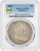1800 $1 PCGS AU50 AMERICAI BUST SILVER DOLLAR - FROSTY TYPE COIN