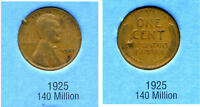 LINCOLN HEAD WHEAT CENT 1925 P AVERAGE CIRCULATED UNITED STATES 1 PENNY COIN B6