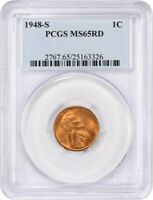 1948-S 1C PCGS MINT STATE 65 RD - LINCOLN CENT