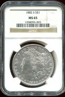1882-S NGC MINT STATE 65 MORGAN SILVER DOLLAR