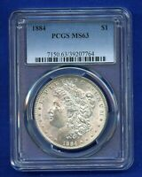 1884 P PCGS MINT STATE 63 MORGAN SILVER DOLLAR $1 US MINT BETTER 1884-P PCGS MINT STATE 63 PQ