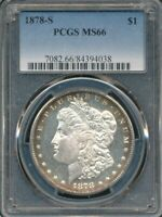 1878-S MORGAN DOLLAR PCGS MINT STATE 66 NEAR PROOF-LIKE SURFACES W/PERIPHERAL TONING