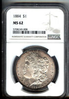 1884-P - MORGAN SILVER $1   NGC MINT STATE 62 - FLASHY LUSTRE - RAINBOW RIM TONING