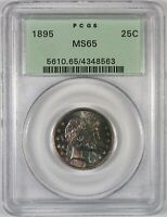 1895 25C BARBER SILVER QUARTER COIN OGH PCGS MS65    OLD GRE