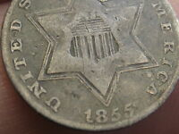 1855 THREE 3 CENT SILVER,  KEY DATE, RPD, REPUNCHED DATE