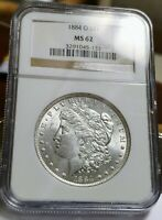 1884-0 MORGAN DOLLAR NGC MINT STATE 62