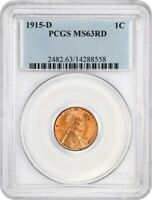 1915-D 1C PCGS MINT STATE 63 RD - LINCOLN CENT