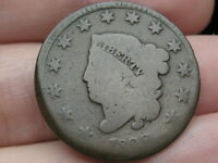 1829 MATRON HEAD LARGE CENT PENNY, LARGE LETTERS, ROTATED REVERSE ERROR