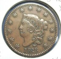 1828 1C CORONET OR MATRON HEAD LARGE CENT CHOICE EXTRA FINE   COLOR S1