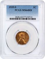 1935-S 1C PCGS MINT STATE 64 RB - LINCOLN CENT