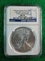 2015 W SILVER EAGLE STRUCK AT WEST POINT MINT  E.REL. NGC MS70  3982522-069