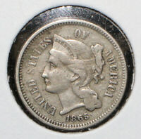 1865 THREE CENT 3C NICKEL - 05871