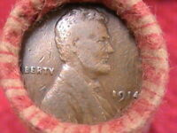 LINCOLN WHEAT CENT ROLL  1914P - 1929S CENT ON END