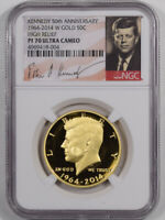 2014-W 50C KENNEDY 50TH ANNIVERSARY GOLD HIGH RELIEF 3/4OZ NGC PF-70 ULTRA CAMEO