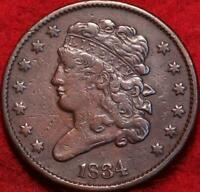 1834 PHILADELPHIA MINT COPPER DRAPED BUST HALF CENT