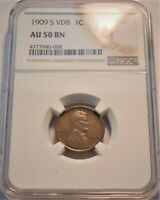 1909 S VDB 1C NGC AU 50 LINCOLN HEAD CENT PROBLEM FREE SCARC