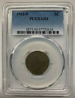 1912 S, LIBERTY NICKEL, OLD NICKEL COLLECTOR COIN, V NICKEL, 5C, 5 CENT PCGS G04