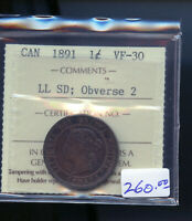 1891 LARGE LEAVES SMALL DATE OBV. 2 CANADA LARGE CENT ICCS C