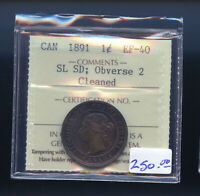 1891 SMALL LEAVES SMALL DATE OBV. 2 CANADA LARGE CENT ICCS C