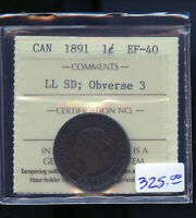 1891 LARGE LEAVES SMALL DATE OBV. 3 CANADA LARGE CENT ICCS C