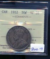 1912 CANADA 50 CENTS ICCS CERTIFIED VF20 CLEANED DC475