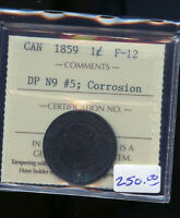 1859 DP N9 5 CANADA LARGE CENT ICCS CERTIFIED F12 CORROSION