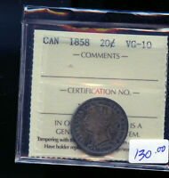 1858 CANADA 20 CENTS ICCS CERTIFIED VG10 DC468