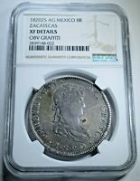 NGC EXTRA FINE  DETAILS 1820 MEXICO SILVER 8 REALES ANTIQUE COLONIAL DOLLAR PIRATE COIN