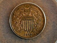 1864 LARGE MOTTO 2 TWO CENT PIECE ANACS EF 45 DETAILS