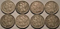LOT OF  8  THREE CENT NICKELS 1865 1866 1867 1869 1870 1872