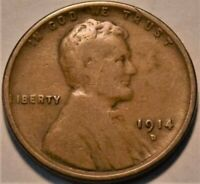 1914 D LINCOLN CENT CHOCOLATE BROWN BETTER SEMI KEY DATE PEN
