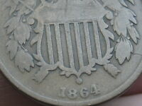 1864 TWO 2 CENT PIECE- LARGE MOTTO- ROTATED REVERSE MINT ERROR