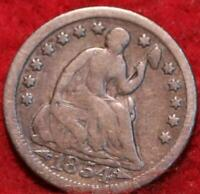 1854 PHILADELPHIA MINT SILVER SEATED HALF DIME WITH ARROWS