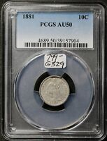 1881 SEATED LIBERTY DIME.  IN PCGS HOLDER.  AU50.  G329