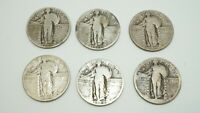WALKING LIBERTY QUARTERS LOT OF 6 COINS 3-1929 2-1928 1-? SILVER COINS