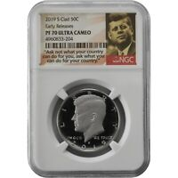 2019 S KENNEDY NGC PF70 EARLY RELEASES PROOF CLAD HALF DOLLA