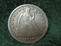 1846 U.S. SEATED LIBERTY SILVER DOLLAR  GORGEOUS 90 SILVER ONE DOLLAR COIN