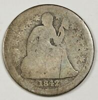 1842-O SEATED LIBERTY DIME.  CIRCULATED.  148888