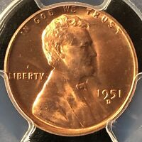 1951-D 1C RD LINCOLN WHEAT ONE CENT  PCGS MINT STATE 65RD                  27149904