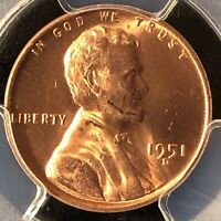 1951-D 1C RD LINCOLN WHEAT ONE CENT  PCGS MINT STATE 65RD                  27149905
